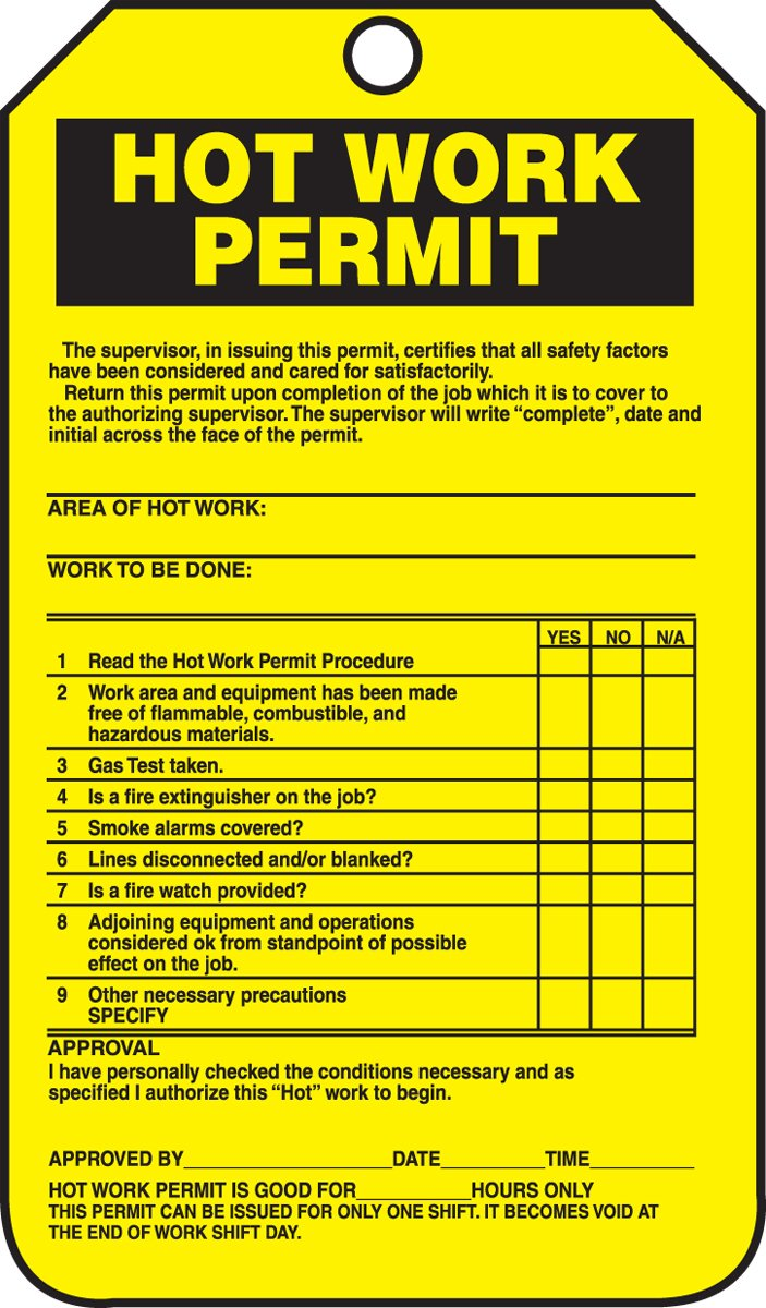 Accuform Signs TCS361CTP Hot Work Status Tag, Legend'HOT WORK PERMIT (CHECKLIST)', 5.75' Length x 3.25' Width x 0.010' Thickness, PF-Cardstock, Black on Yellow (Pack of 25) LegendHOT WORK PERMIT (CHECKLIST) 5.75 Length x 3.25 Width x 0.010 Thickness
