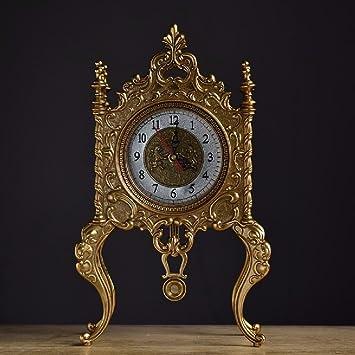 SSBY Estilo europeo creativo todo metal salón elegante y minimalista Reloj retro relojes relojes antiguos,Golden: Amazon.es: Hogar