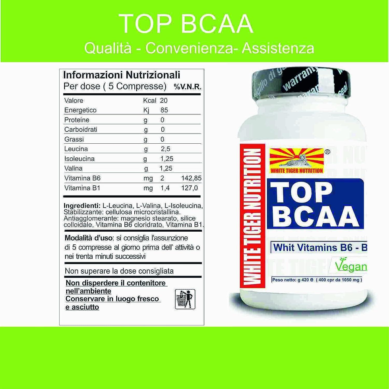 Aminoácidos de cadena ramificada BCAA | 100 tabletas de 105 gr | Las vitaminas B6 y B1 con una relación 2: 1: 1 | aumento de la recuperación de la masa ...