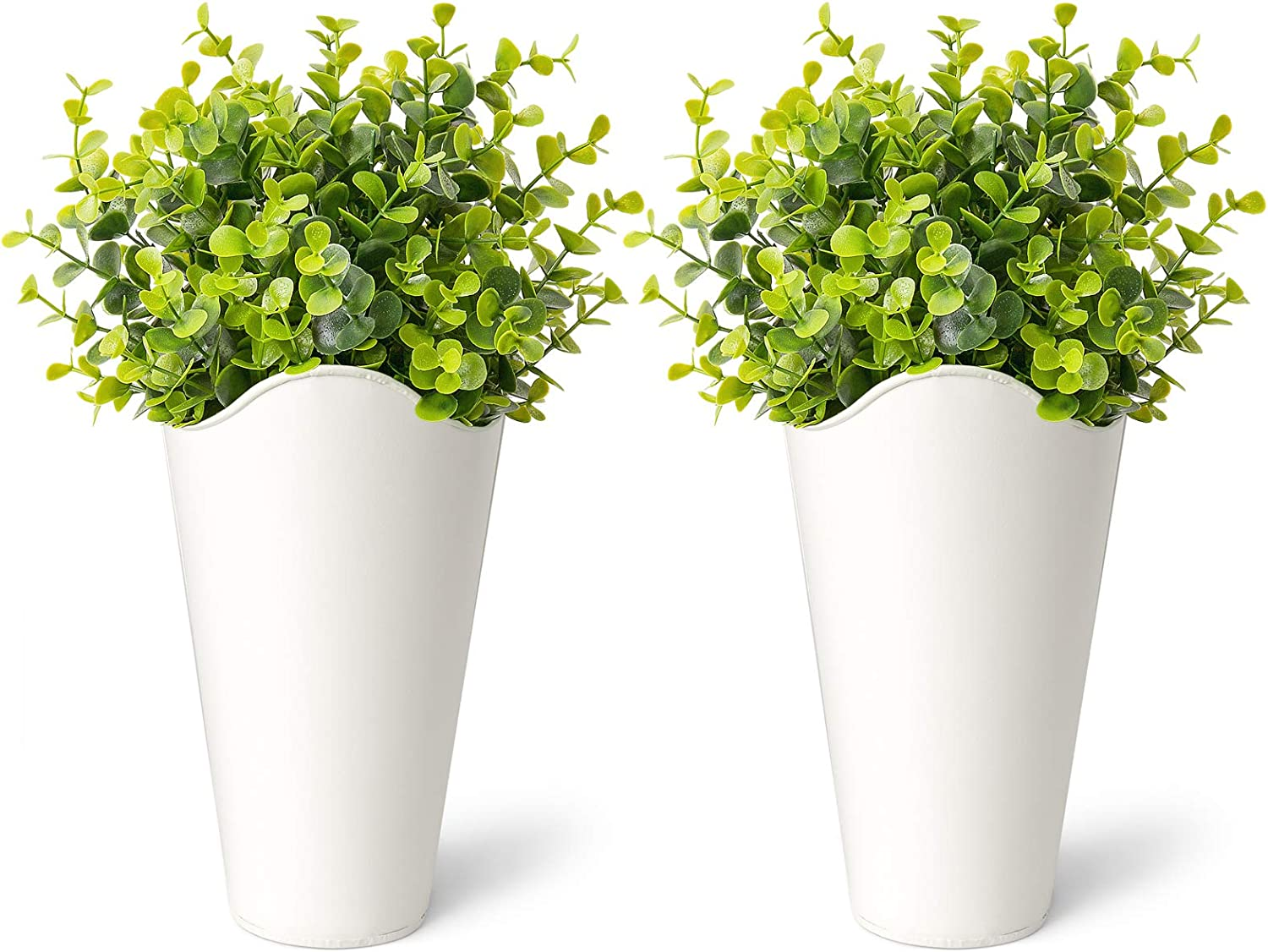 Dahey 2 Pack Galvanized Metal Wall Planter with Artificial Eucalyptus Farmhouse Style Hanging Wall Vase Planters Flowers Holder for Country Rustic Home Wall Decor,White