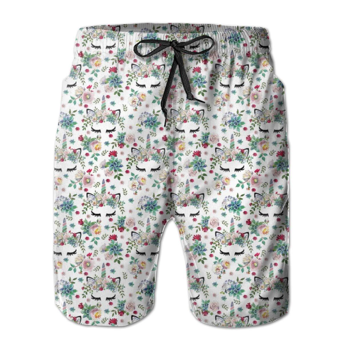 Mens Swim Trunks Quick Dry Summer Holiday Beach Shorts with Mesh Lining Succulent Unicorns White Beachwear