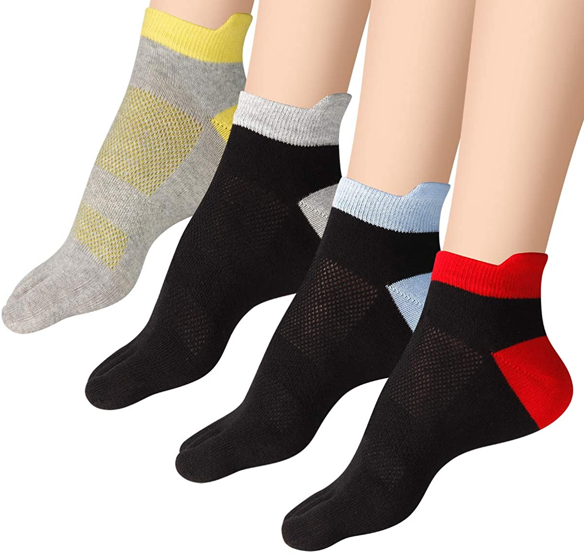 Mens Toe Socks 5 Fingers No Show Cotton Mesh Wicking Athletic Running walking Socks 4 Pack By Cosfash