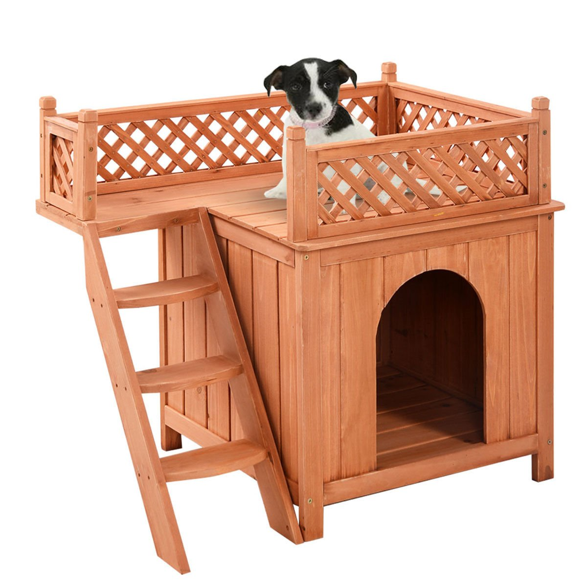 Wood Pet Dog House Wooden Puppy Room Indoor & Outdoor Roof Balcony Bed Shelter