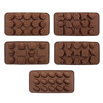 Moldes de chocolate para hacer dulces, Hippih 5 unidades de moldes de silicona para hornear con diferentes formas: Amazon.es: Hogar