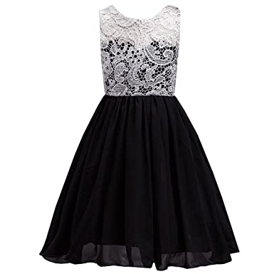 1b83e81160e6 LPATTERN Little/Big Girl's Ruched Sleeveles Lace Short Tulle Flower Dress  Bridesmaid Wedding Prom Party