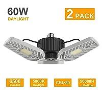 Deals on 2-Pack LZHome LED Garage 60W Lights, 6500Lumens E26/E27