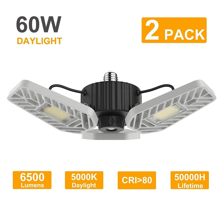 Lzhome 2 pack led garage lights 6500lumens adjustable trilights garage ceiling light 60w led garage light cri 80 5000k nature light garage lights