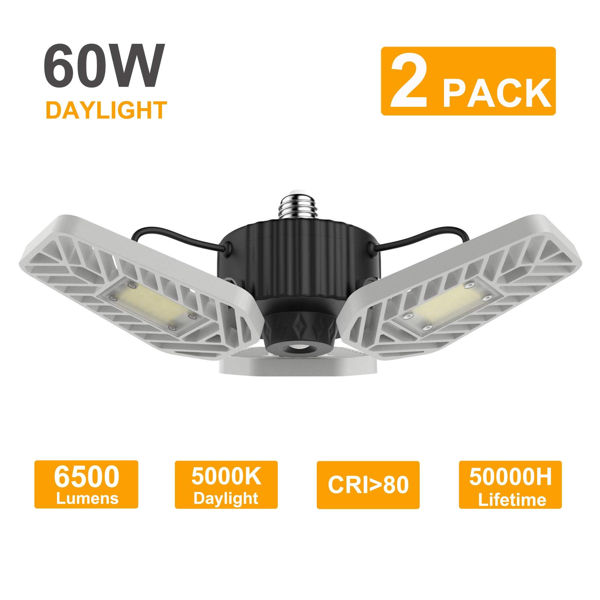LZHOME 2-PACK LED Garage Lights, 6500Lumens E26/E27 Adjustable Trilights Garage Ceiling Light ,60W LED Garage Light, CRI…