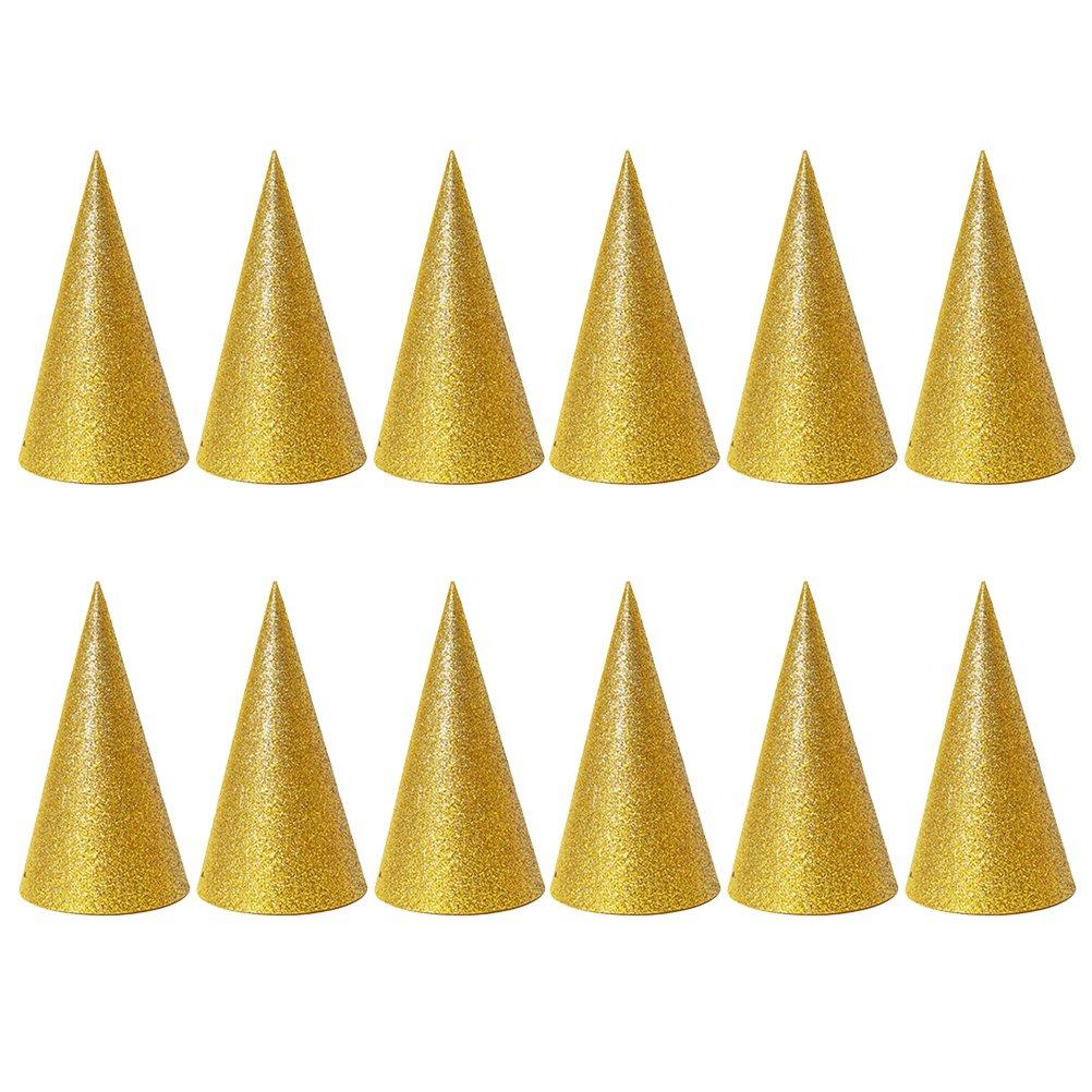 NUOBESTY 12 St/ücke Glitter Geburtstag Party Hut spa/ß Geburtstag Jamboree Party h/üte f/ür Kinder golden