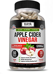 Kaya Naturals Apple Cider Vinegar Pills, 120 Count Capsules for Fast Weight Loss, Cleanse, Appetite Suppressant, Bloating Relief, Non-GMO and Gluten Free (120 Capsules)