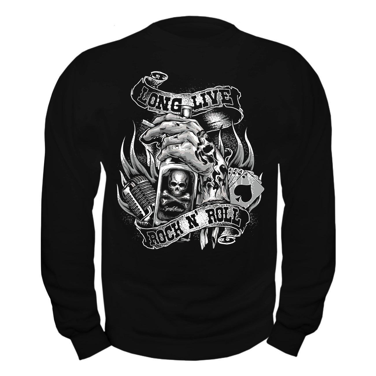 Männer und Herren Pullover Long Live Rock N Roll B01IFE9D5K Sweatshirts In hohem Grade geschätzt und weit Grünrautes herein und heraus