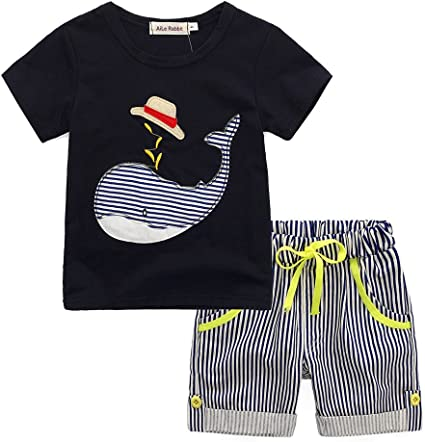 2PCS Kid Baby Boy Cartoon T-shirt Top+Striped Short Pants Outfit Clothe Set 2-7T