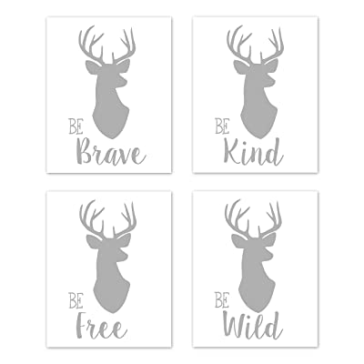 Sweet Jojo Designs Grey and White Stag Wall Art Prints Room Decor for Baby, Nursery, and Kids for Woodland Deer Collection - Set of 4 - Be Brave, Be Kind, Be Wild, Be Free: Baby