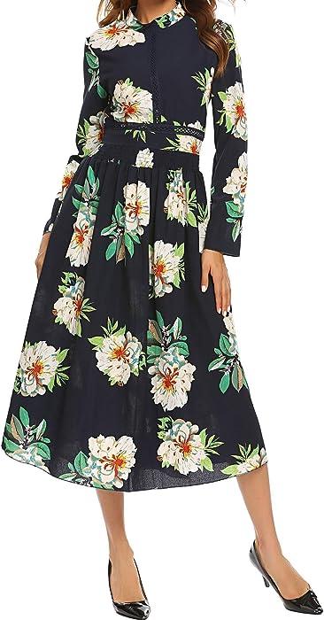 090c799bbb1f SE MIU Women s Long Sleeve Floral Print Boho Maxi Dress at Amazon ...