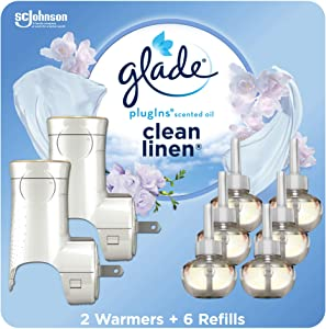 Glade PlugIns Refills Air Freshener Starter Kit, Scented Oil for Home and Bathroom, Clean Linen, 4.02 Fl Oz, 2 Warmers + 6 Refills