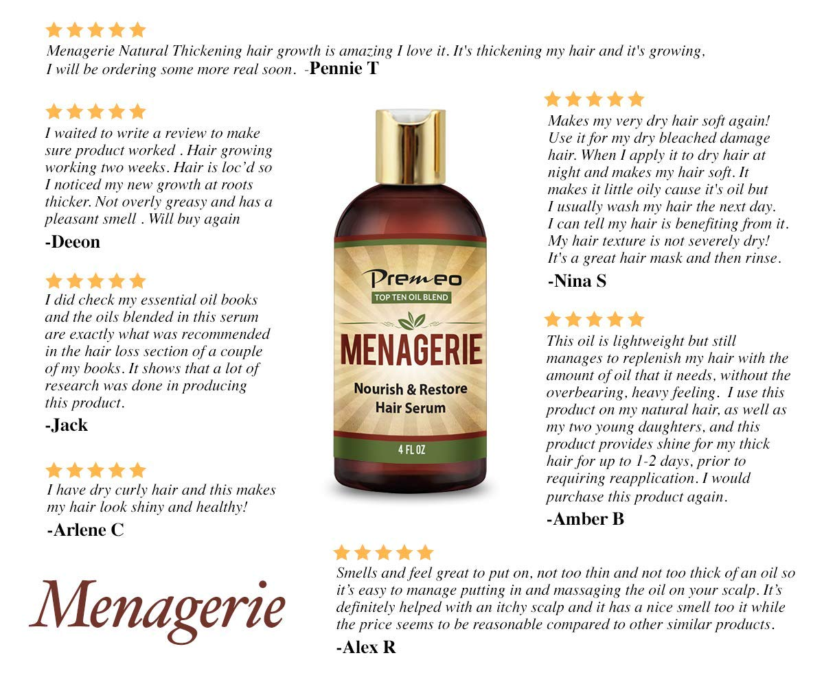 Menagerie Hair Growth Serum - Top Ten 100% Natural Oils For Thicker Stronger Softer Hair Including Organic Castor, Sweet Almond, Avocado, Grapeseed, Coconut Aragon, Jojoba, Rosemary (4 oz) by Premeo (Image #6)