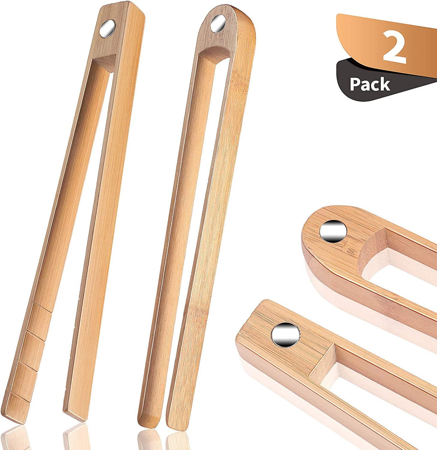 2 Pieces Magnetic Bamboo Toaster Tongs 8.7 Inch Wooden Kitchen Toast Tongs for Cooking, Natural Bamboo Kitchen Utensils Suitable for Bagel, Toast, Cake, Bacon, Muffin, Bread