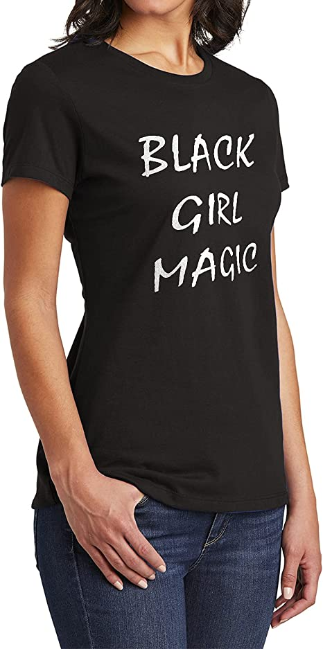 Women Black Girl Magic Shiny Stars Afro Blouse Tee Summer Casual Top T-Shirt