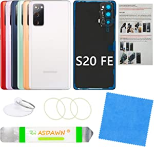 Galaxy S20 FE Back Glass Cover Replacement Housing Door with Pre-Installed Camera Lens +Installation Manual +All The Adhesive +Repair Tools for Samsung Galaxy S20 FE SM-G780 All Carriers(Cloud White)