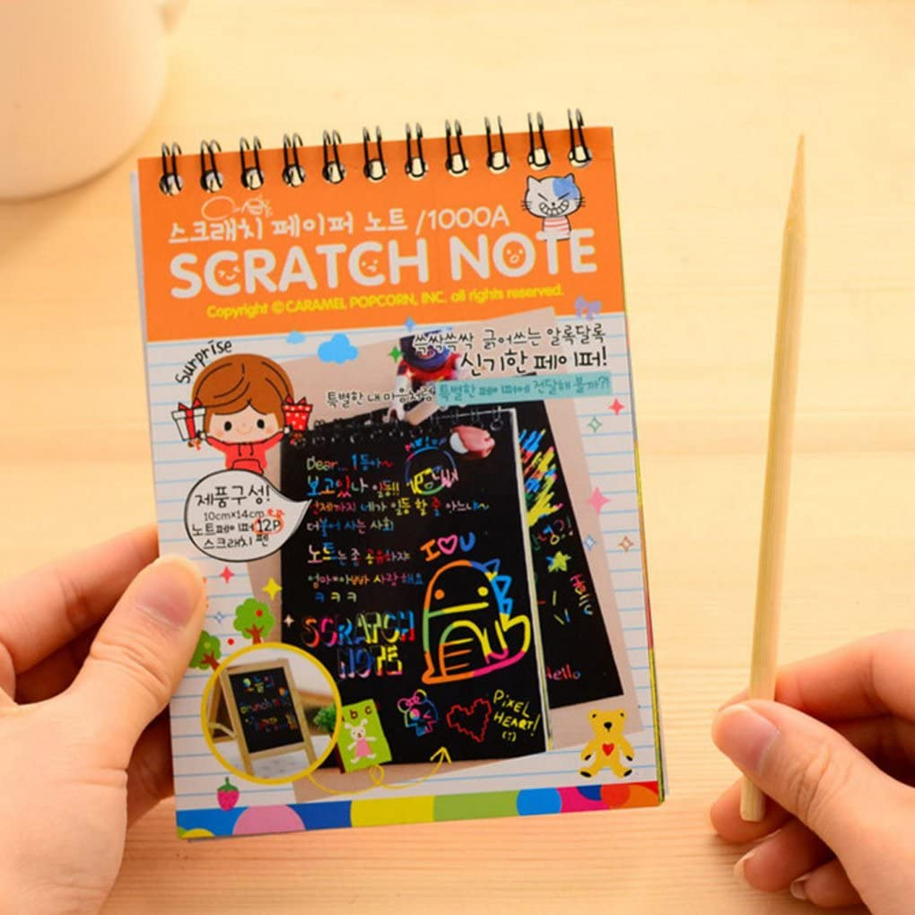 1 Book Colorful Dazzle Scratch Note Sketchbook Paper Graffiti DIY Coils Drawing Book Children Drawing Book Color Random