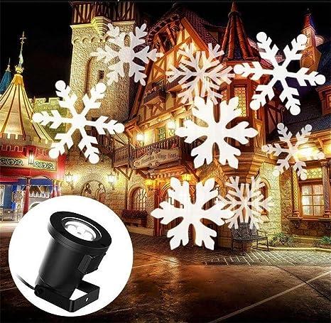 LUCKY CLOVER-A Navidad Proyector de paisaje LED, lámpara de copo ...