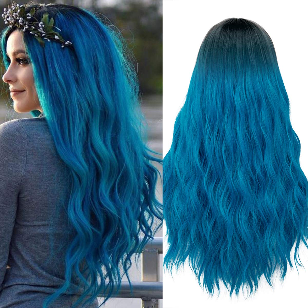 Mildiso Long Blue Wigs for Women Ombre Color Wavy Hair Wig Natural Looking Perfect for Daily Party Cosply 052B by Mildiso