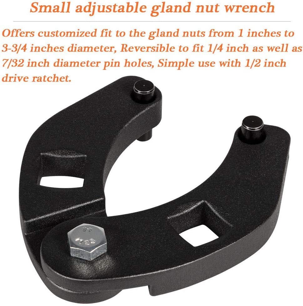 Large /& Small Adjustable Gland Nut Spanner Wrench Set for Hydraulic Cylinders 1266 /& 7463 Set of 2