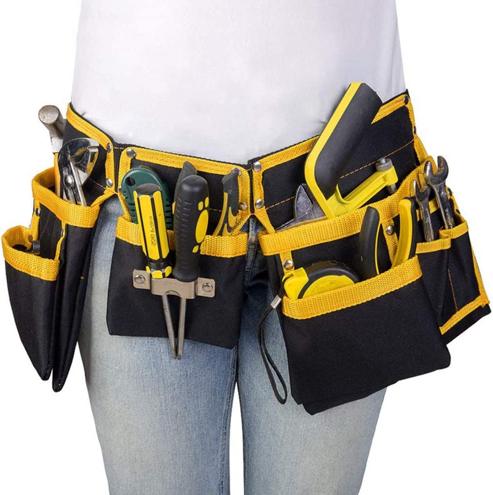 11 Pocket Tools Belt Bags with Hammer Holder, Adjustable Waist Bag Multipurpose Utility Tool Pouch with Pockets for Tools, Yellow - -