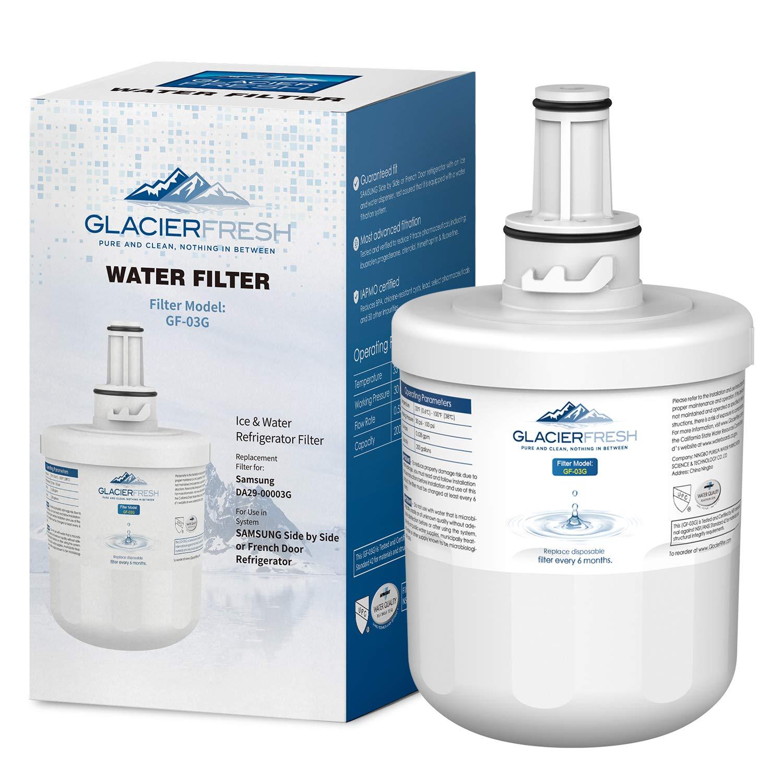 GLACIER FRESH DA29-00003G Water Filter Replacement for Samsung Refrigerator, Compatible with Samsung DA29 00003G, DA29-00003F, Aqua-Pure Plus DA29-00003B, RFG297AARS, HAFCU1, WSS-1 (Pack of 1)