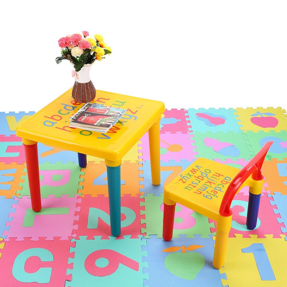 GOTOTOP Kunststoff Alphabet Tisch und Stühle Set Kinder Möbel Set Multifunktional Tisch und Stuhl für Kinderzimmer