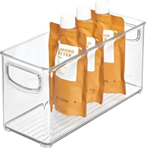 iDesign Linus BPA-Free Plastic Stackable Organizer Storage Bin with Handles for Kitchen, Pantry, Bathroom, Small