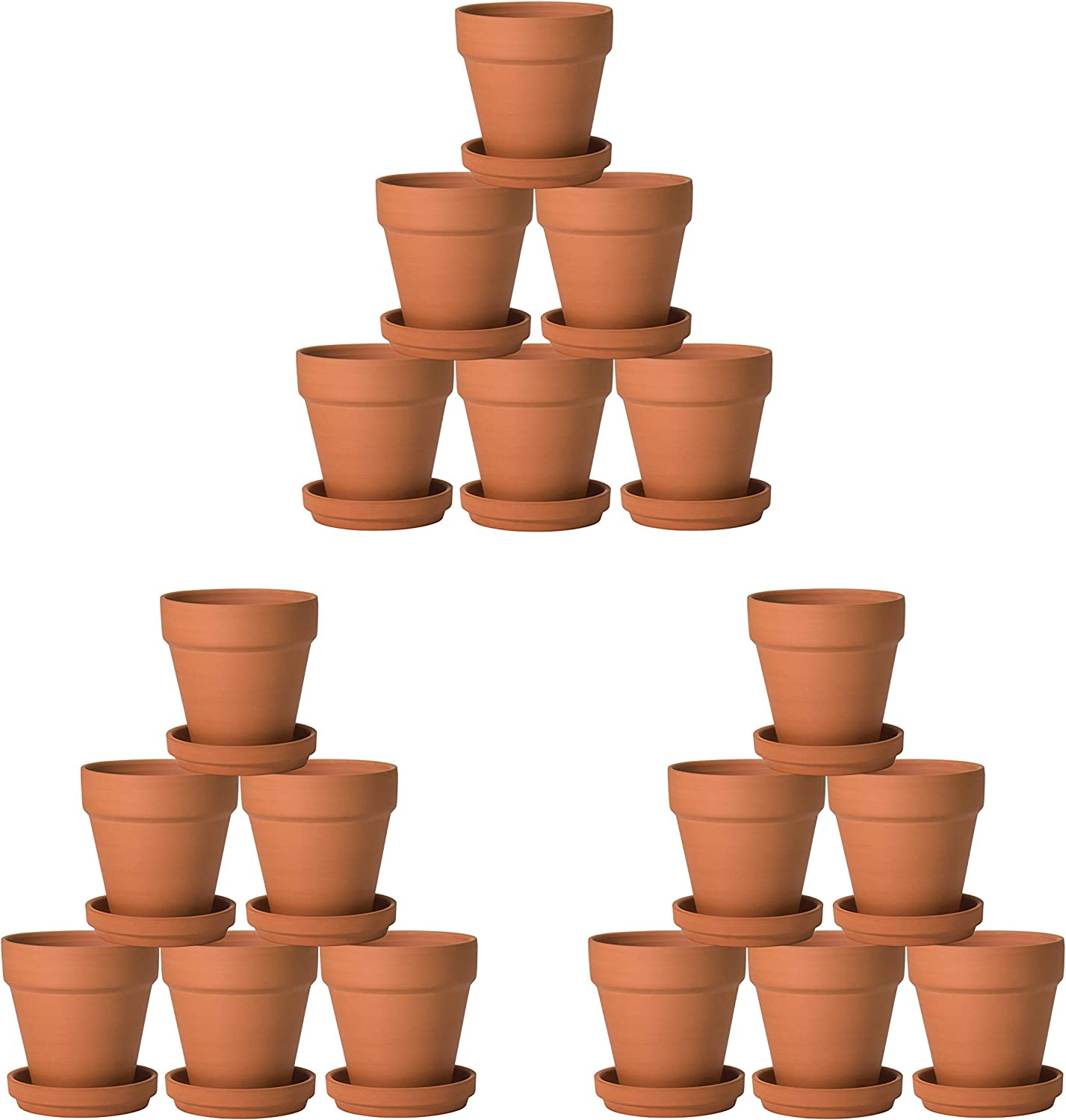 Pack of 18 Terracotta Pots with Saucers, 3 Inches Terra Cotta Clay Pots with Tray