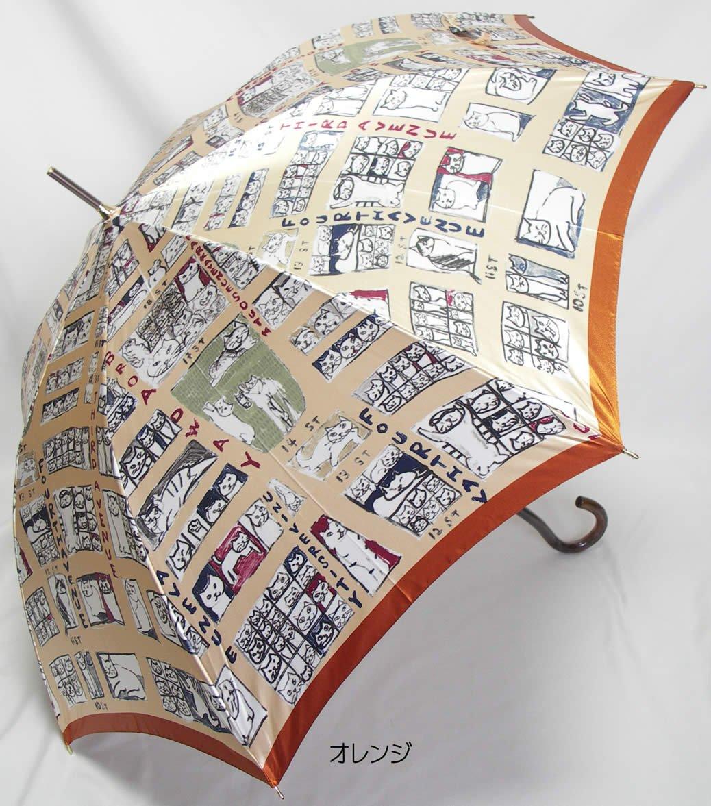 婦人レディース 雨傘。Manhattaner's マンハッタン 「マンハッタナーズ 猫のマンハッタン凱旋 ジャンプ 長傘 オレンジ」 B01J6G5MPQ