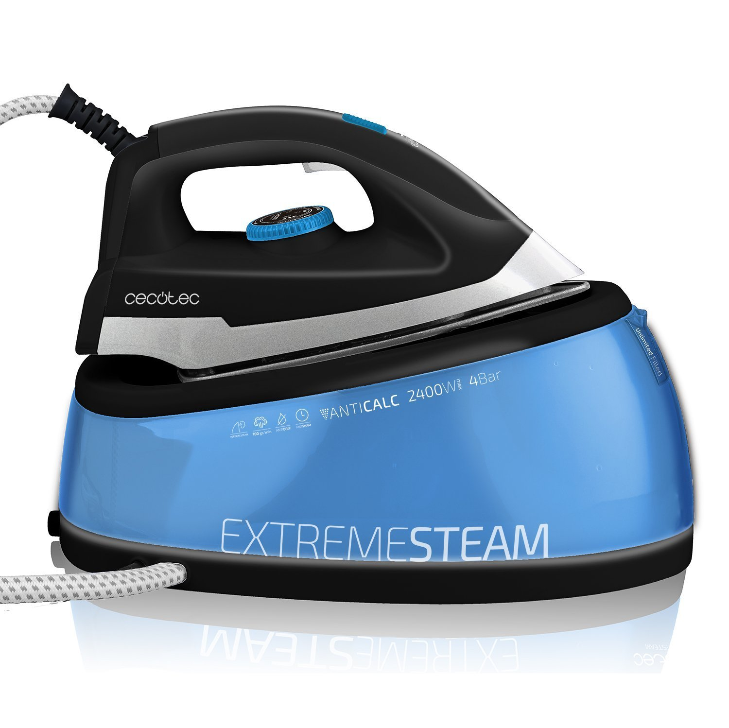 Steam Generator Iron. Unlimited Autonomy. Detachable Anti-Scale Filter. ECO Mode. Continuous Steam 120 g/min. TitaniumSlide Soleplate. 2 l Container. Precision Tip. Adjustable Temperature. Vertical Steam. Light and Compact. Cable 360º Cord. Auto-Clean Sys