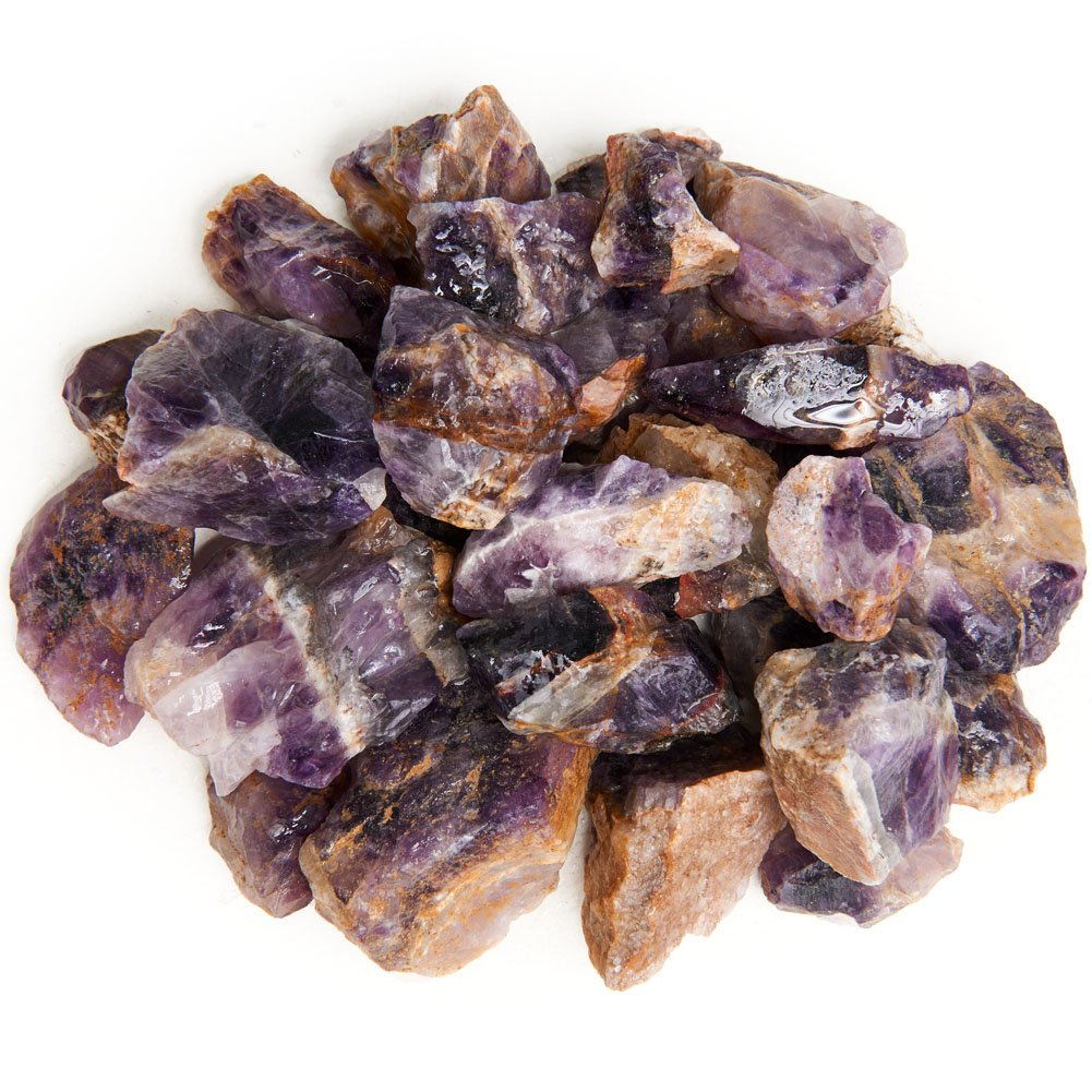 Digging Dolls: 1 lb Deep Purple Amethyst Rough Rocks from India - Raw Natural Crystals and Stones for Arts, Crafts, Tumbling, Cabbing, Polishing, Wire Wrapping, Reiki Crystal Healing