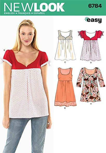 Amazon.com: New Look Sewing Pattern 6784 Misses Tops or Dress, Size ...
