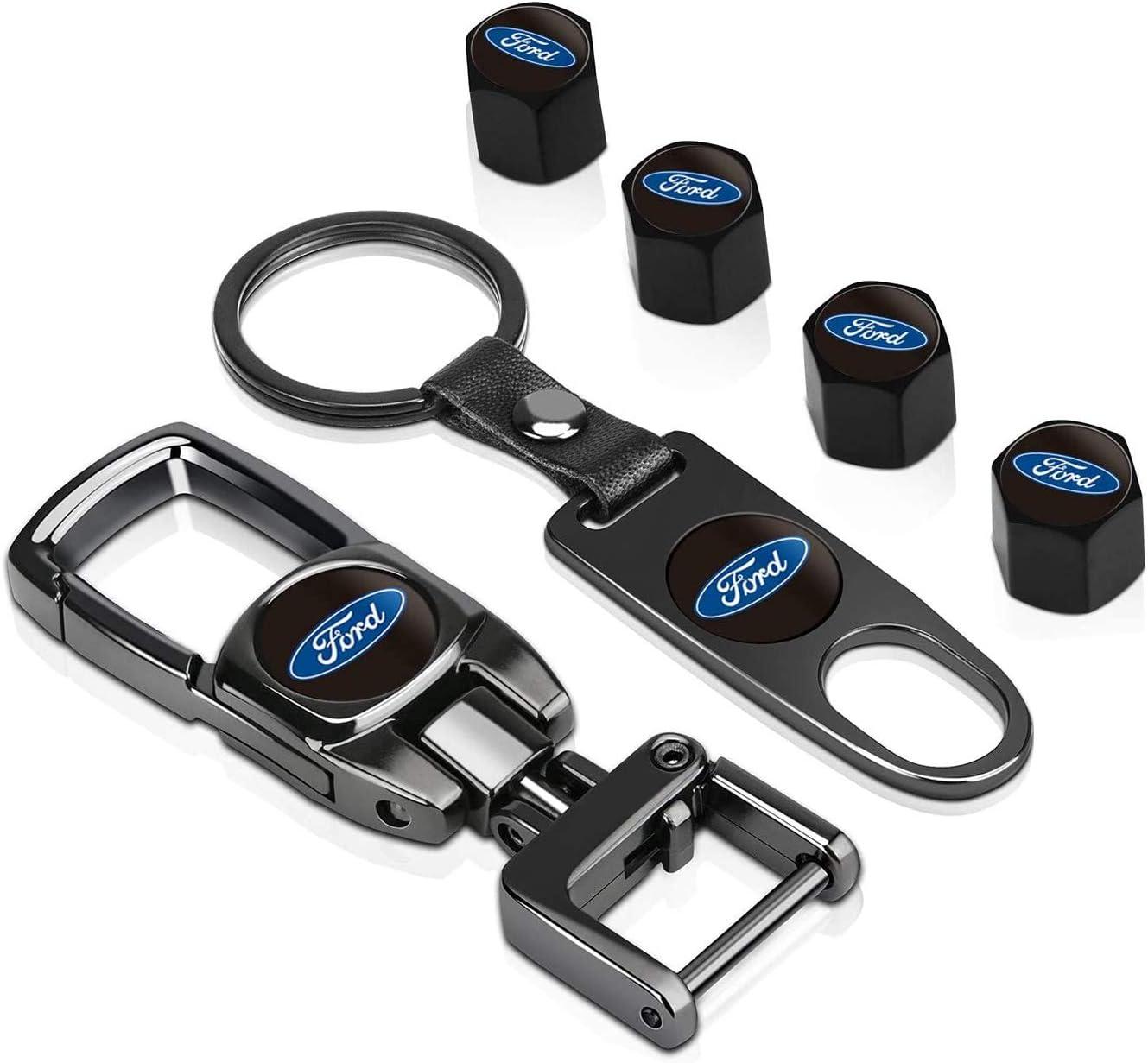 Tire Valve Stem Caps Cover and Heavy-Duty Keychain Combo Set for Nissan Maxima 350z Murano Sentra Rogue Xterra Car Wheel Total 6pcs Heavy-Duty