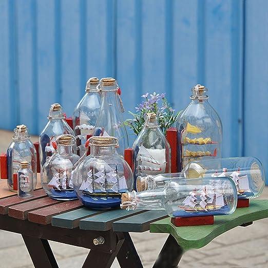 Botella de Deseos Vidrio Interior Barco Pirata Vela Deriva Decoración Hogar Regalo: Amazon.es: Hogar