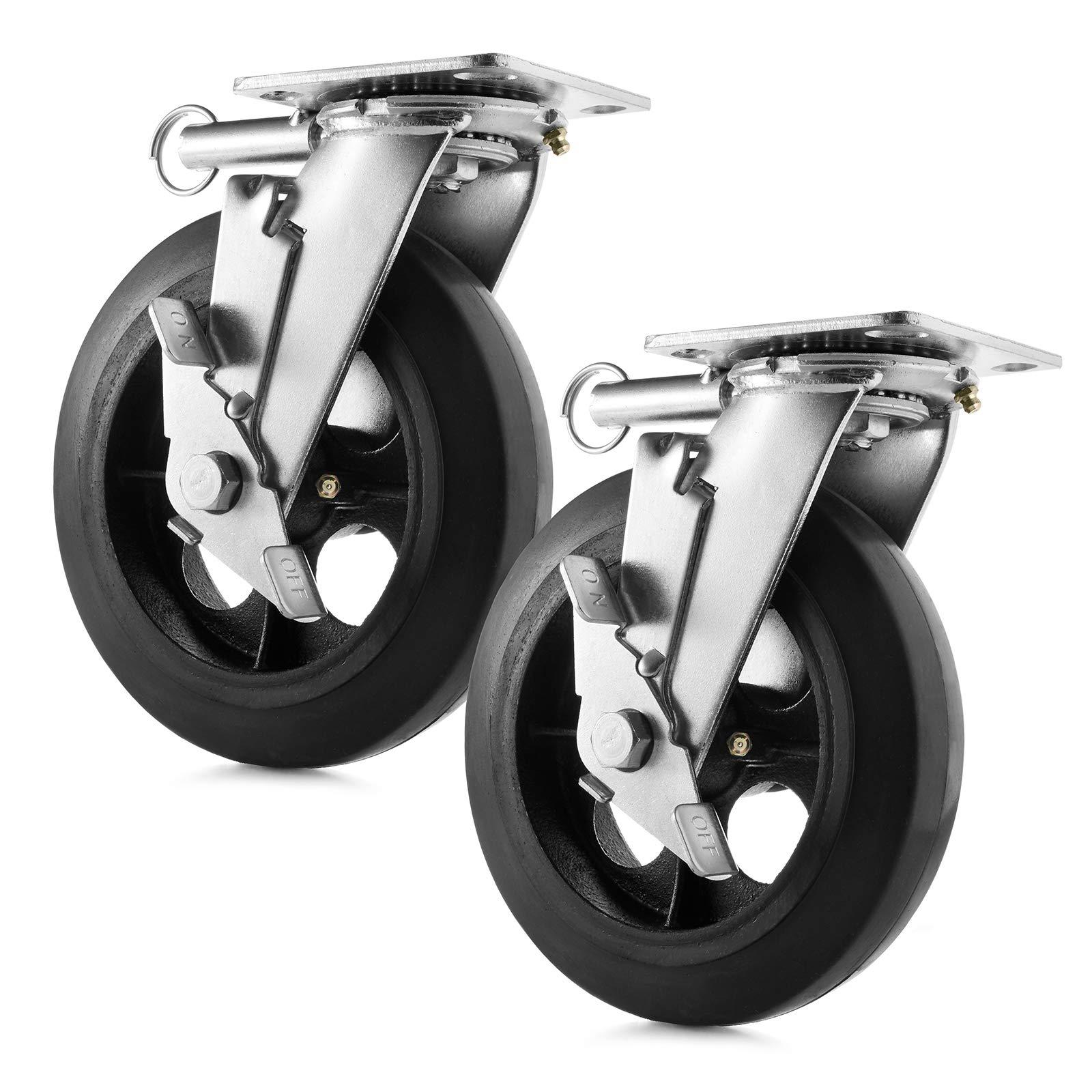GypTool Heavy Duty Swivel Caster Wheel Set of 2 Wheels 8'' x 2'' - 500 lb Capacity