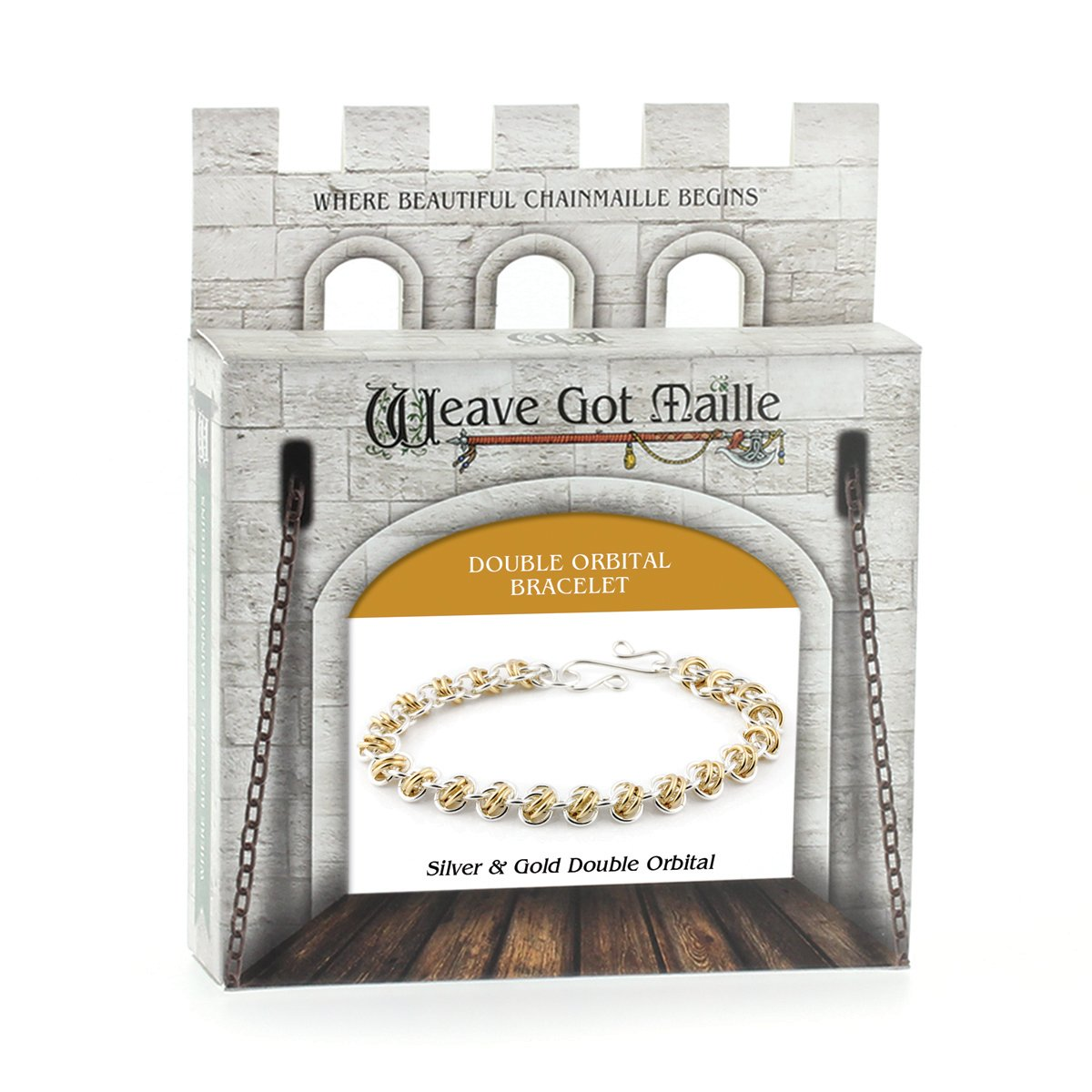 Weave Got Maille Double Orbital Barrel Chain Maille Bracelet Kit, Gold and Silver KIT-210.01