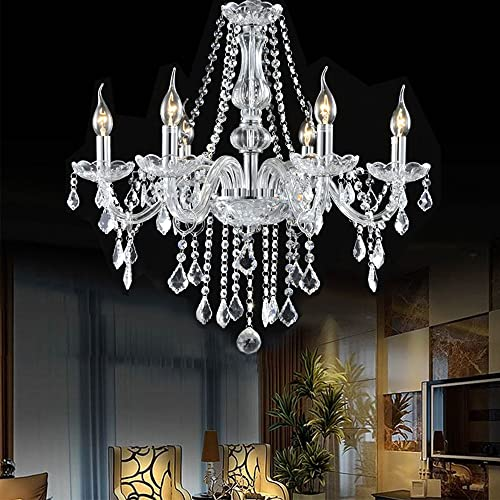 Boshen Crystal Candle Chandelier 6 Lights Fixture Pendant Ceiling Lamp