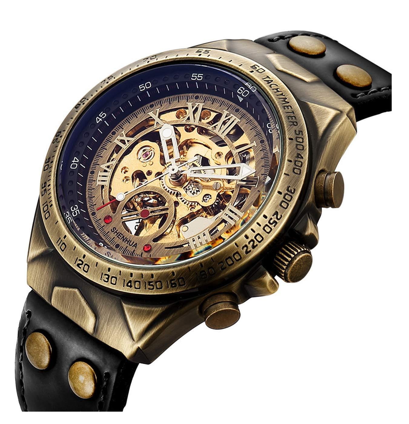 Luxury Automatic Mechanical Men's Leather Belt Fashion Business Bronze Steel Waterproof Skeleton Watches 3