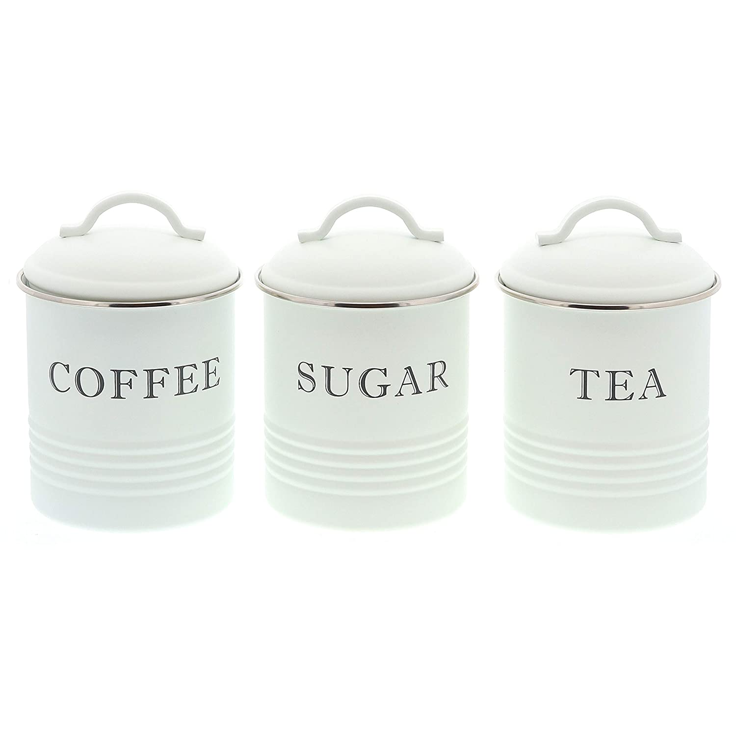 Barnyard Designs Decorative Kitchen Canisters with Lids White Metal Rustic Vintage Farmhouse Country Decor for Sugar Coffee Tea Storage (Set of 3)