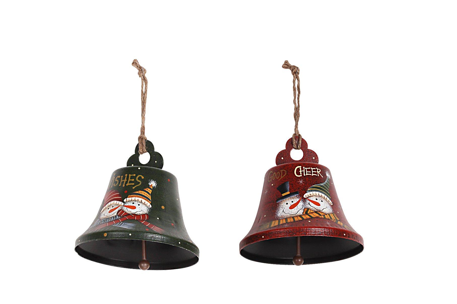 YK Decor Metal Santa or Snowman Bell Holiday Christmas Ornament