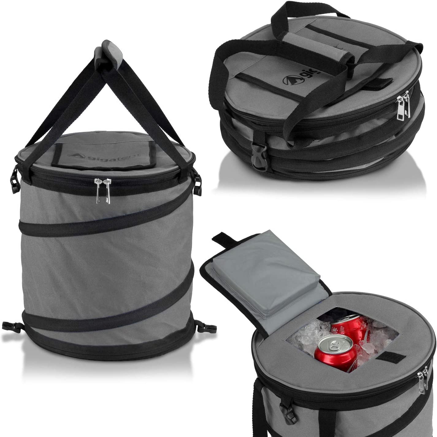 GigaTent 24 Can Pop Up Cooler – Lightweight Insulated Picnic Collapsible Bag – Pops Open Waterproof Portable Folding Outdoor Organizer For Camping Travel Picnics Hiking and More Gray