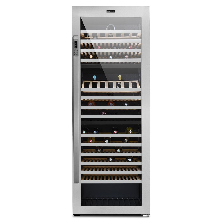 Klarstein Botella Trium • Nevera para vinos • Nevera para bebidas • Refrigerador gastronomía • 3 Zonas • 617 L • 268 Botellas • 14 Baldas • Filtro UV • Control por teclado y pantalla • Negro-Plateado [Clase de eficiencia energética B] HEA10-Botella-Trium