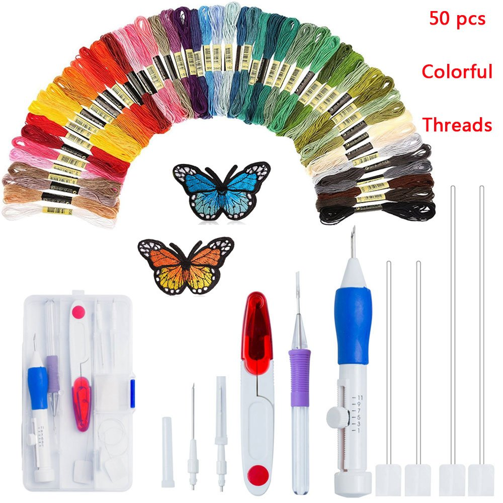 Magic Embroidery Pen iLosga Embroidery Stitching Punch Needle Embroidery Kit Craft Tool Set Including 50 Color Threads for DIY Sewing Embroidery Cross Stitch Kits and Knitting Sewing Tool