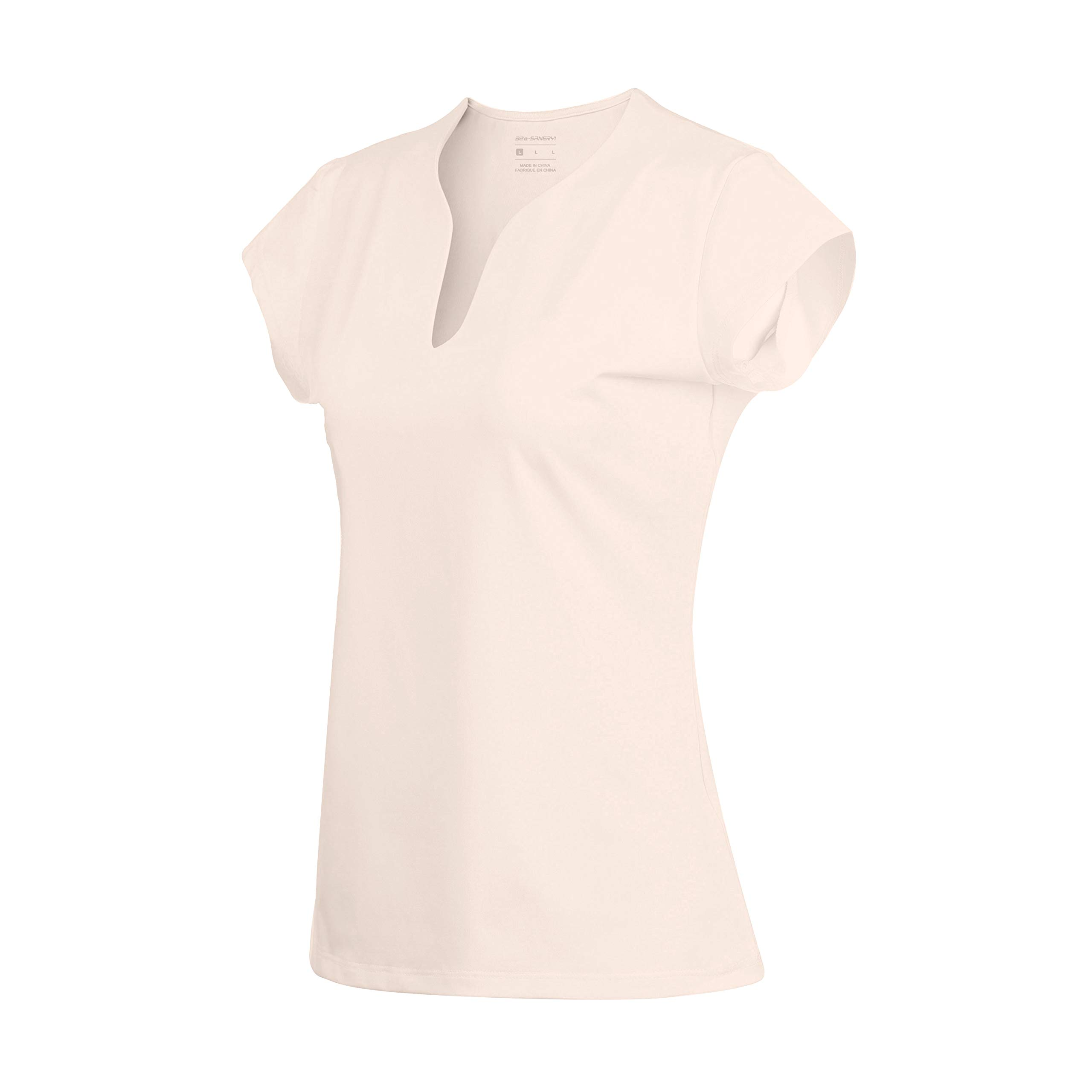 32e-SANERYI Women's V-Neck Pullover Short Sleeve Sports Shirts Quick-Drying Tees (Small, Beige Pink)