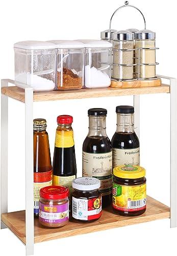 Yaguang Salt and Pepper Shakers Set 6 Glass Jars with 360 Rotating Holder Seasoning Bottles Stainless Steel Kitchen Spice Rack Set
