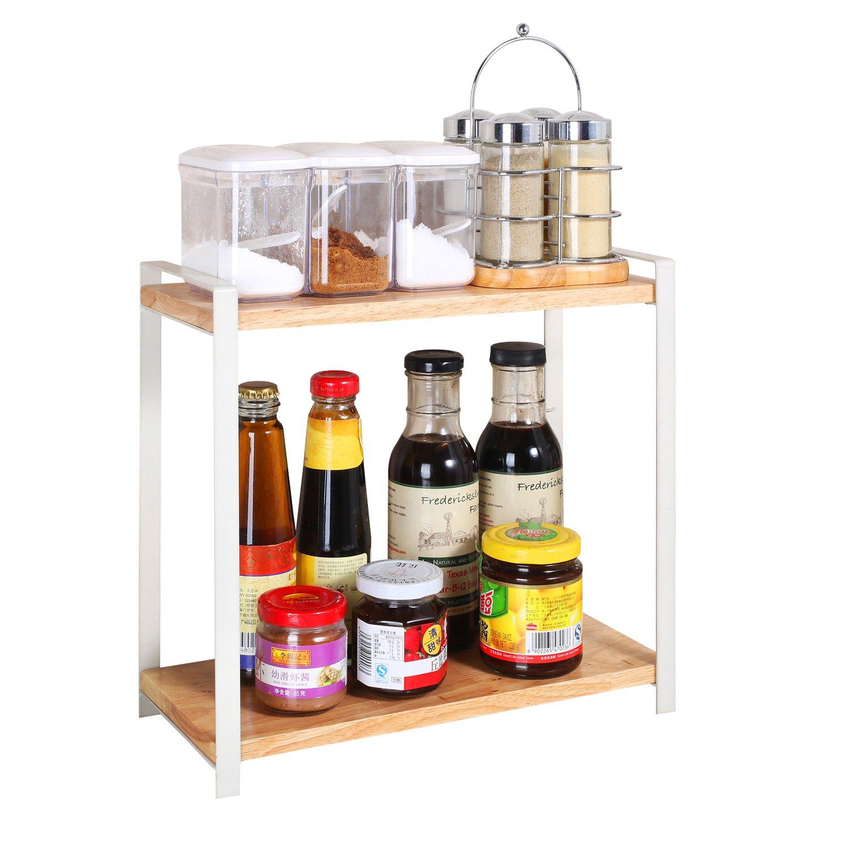 Garwarm 2-Tiers Kitchen Natural Wooden Spice Rack/Standing Rack/Kitchen Bathroom Bedroom Countertop Storage Organizer Spice Jars Bottle Shelf Holder Rack